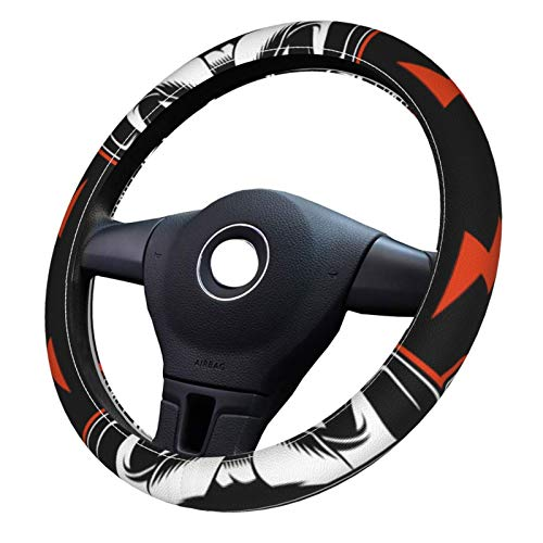 Biker Skull And Crossed Spark Plugs. Carbon fiber steering wheel 3D sticker inner wheel button decorative cover trim