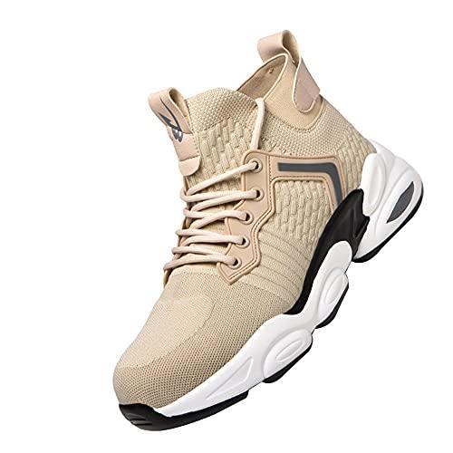 Zapatillas de Seguridad Hombre Ligeras,Zapatos de Seguridad para Hombre, Puntas de Acero Antideslizantes Anti-Piercing Zapatos de Trabajo,Beige▁45