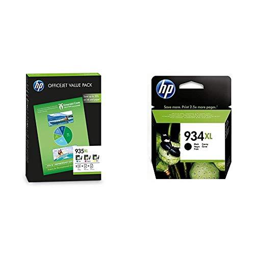 HP F6U78AE 935XL Paquete de Alto Rendimiento: Cartuchos de Tinta Cian, Magenta y Amarilla + C2P23AE 934 Cartucho de Tinta Original de Alto Rendimiento, 1 Unidad, Negro