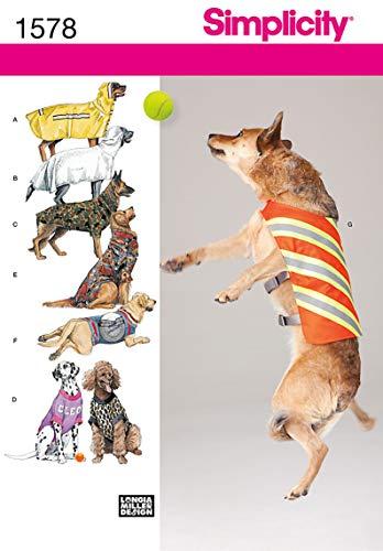 Simplicity 1578 Schnittmuster für Hundejacke und Kleidung, Größe M