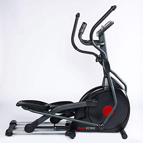 FUEL Fitness EC300 Crosstrainer, klappbarer Ellipsentrainer für zuhause, 20kg Schwungmasse für natürliche, gelenkschonende Bewegung, 45cm Schrittlänge, LCD-Computer mit 14 Programmen und App-Anbindung