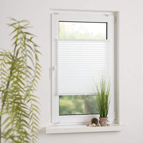 Cocoon Plissee Faltvorhang verspanntes Plissee Sonnenschutz - Schraubmontage   Weiß   70 x 130 cm