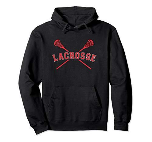Lacrosse Hoodie Red Crossed Sticks Boys Lacrosse Hoodie