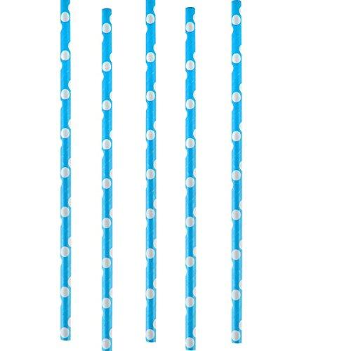 Chal - Paille turquoise à pois blanc x20