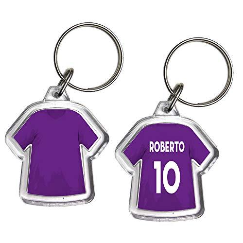 GOODDEAL Portachiavi Mini T-Shirt Squadra Calcio Serie A Serie B Portachiave Gadget in Plexiglass Personalizzato con Nome E Numero Idea Regalo Casa Auto (Fiorentina)