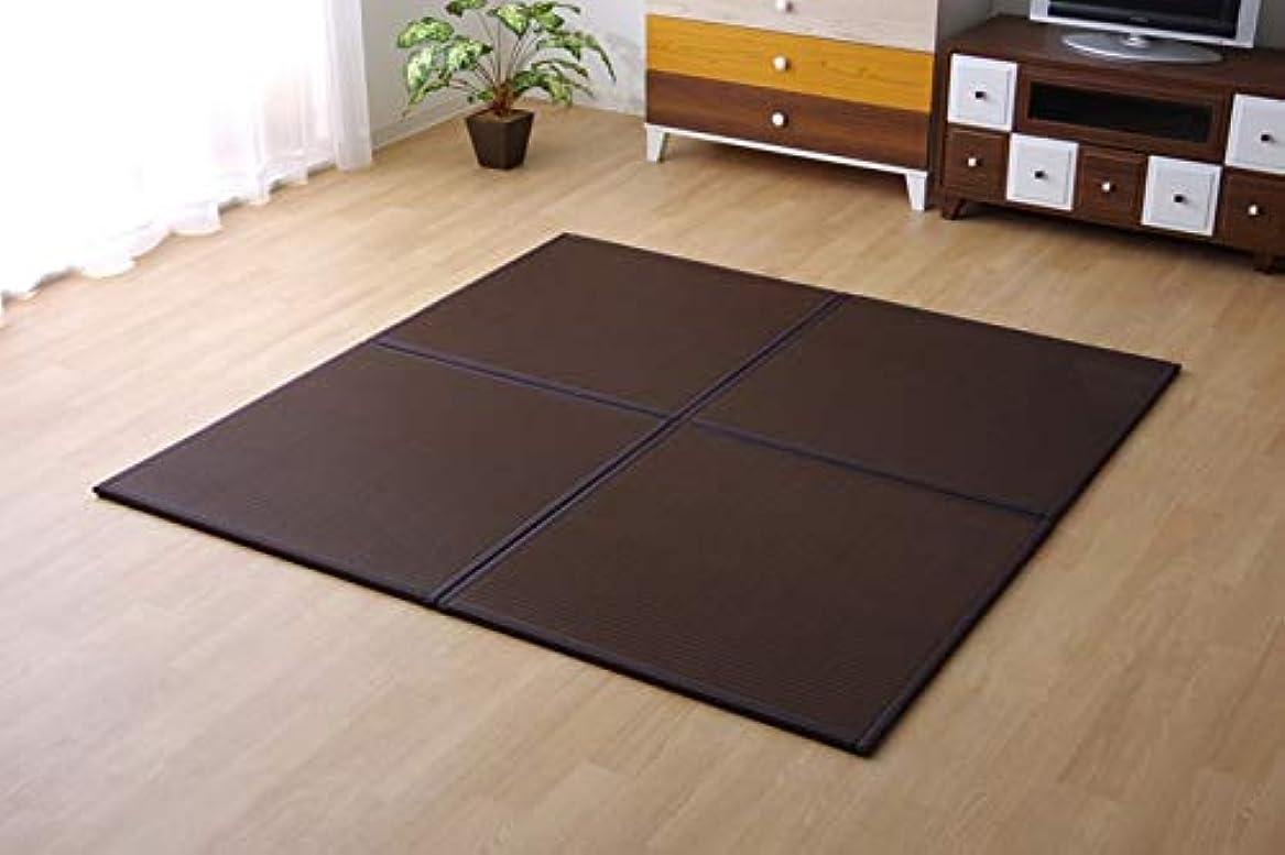 スケルトン気付くボクシングポリプロピレン 置き畳 ユニット畳 水拭きできる「 スカッシュ(6枚組) 」約82×82cmブラウン(#8611230) システム畳 畳 正方形 半畳