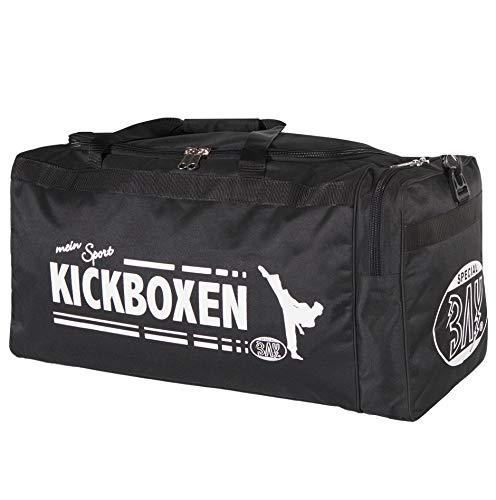 BAY® XL Sporttasche Mein Sport Kickboxen Kick-Boxen, Thaiboxen Muay Thai, Tasche, Trainingstasche, Kickboxtasche Bag, schwarz, 70 x 32 x 30 cm Motiv