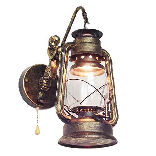 Lámparas de pared retro, lámpara de pared de sirena con linterna de queroseno con interruptor de tiro, aplique de noche antiguo vintage LED E27, lámpara de pared de hierro forjado interior para sala