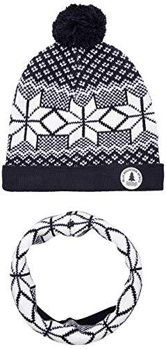 3 pommes Jungen 3p90005 Bonnet+snood Mütze, Schal & Handschuh-Set, Blau (Marine 04), 104/110 (Herstellergröße: 8/12A)