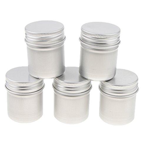 5 Stücke 50ml Leere Aluminium Cremedose Leerdose Blechdose Schraubdosen Kosmetikdose für Kosmetik, Salbe, Glitzer, Kerzen, Lippenbalsam usw.