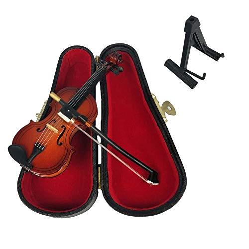 ALANO Miniature Violin Mini Musical Ornament with Stand and Case Decorative Ornament(9cm)