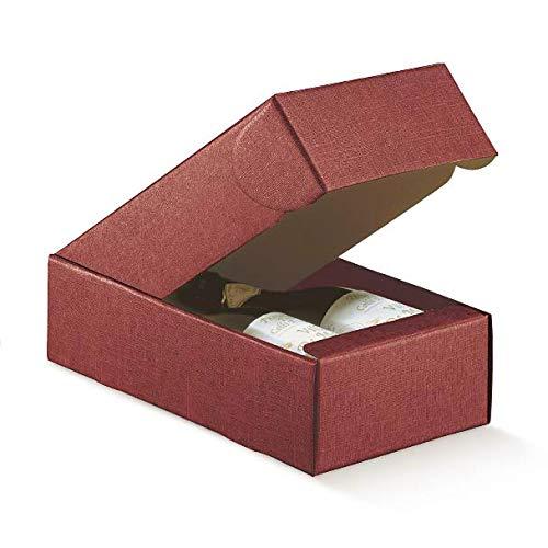 5 cajas de bodega para 2 botellas extendidas de vino, modelo Bordolese, Burgognoche o enogastronomía robustas exuberantes navideñas, cartón acoplado, 34 x 18,5 x 9 cm, bodega 2 burdeos: Amazon.es: Hogar