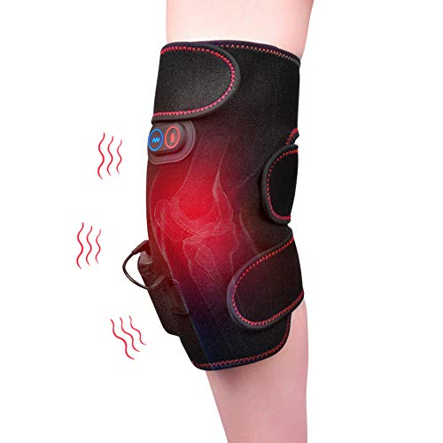 Heated and Vibration Knee Massager Brace Wrap, Reduce Knee Discomfort Relieve Muscle Fatigue Wireless Heated Knee Pads Knee Massager, Rechargeable Electric Heating Pad Massage for Men Women