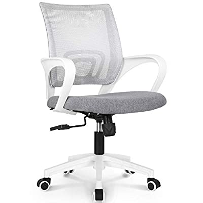 NEO CHAIR Office Chair Computer Desk Chair Gaming - Ergonomic Mid Back Cushion Lumbar Support with Wheels Comfortable Blue Mesh Racing Seat Adjustable Swivel Rolling Home Executive (Grey) by NEO CHAIR INC.