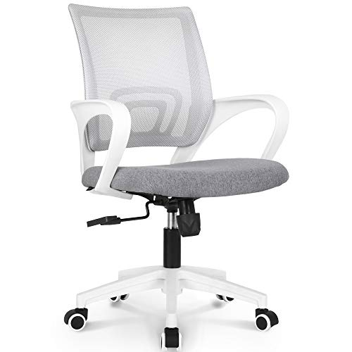 NEO CHAIR Office Chair Computer Desk Chair Gaming - Ergonomic Mid Back Cushion Lumbar Support with Wheels Comfortable Blue Mesh Racing Seat Adjustable Swivel Rolling Home Executive (Grey)