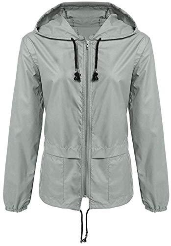 Chaqueta de lluvia sólida al aire libre impermeable con capucha a prueba de viento cremallera suelta abrigo