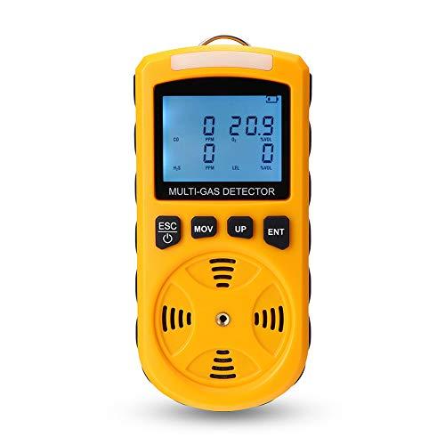 AKAKKSKY 4-in-1 Gasmelder tragbar O2, CO, H2S, UEG Messgerät überwachen Hochempfindlicher Sensor Aufladbar Ton Licht Vibration Alarmpunkteinstellung