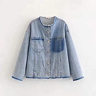 Fashion Women's New Loose Color Matching Washed raw Edge Collarless Denim Jacket (Color : Light Blue, Size : L)
