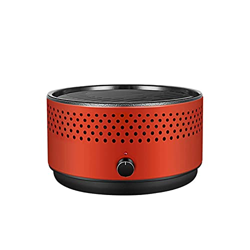 N/Z Home Equipment Rauchfreier Grill Holzkohlegrill Tragbarer Grill mit Ventilator für schnelle Hitze Outdoor Indoor Tischplatte Kleiner Holzkohlegrill Antihaft-Rundgrill für Camping Picknicks Party