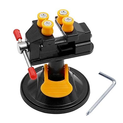 Mesee Mini-Schraubstock, Kleine Werkbank Schraubstock, Walnuss Schraubstock Werkzeuge, Universal Mini Bohrmaschine Vise Saugnapf Schnitzen Vise für DIY Fertigkeit-Schmucksachen