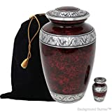 Touch4me Handcrafted Cremation Urn for Ashes, Adult Urn, Classic Forest Urn for Ashes, Metal Urn with Free Keepsake, Included Velvet Bag (Red)