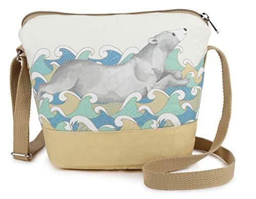 Crest Design Cute Canvas Crossbody Bag Shoulder Bag Purse for Girl and Teenage (Beige Otter)