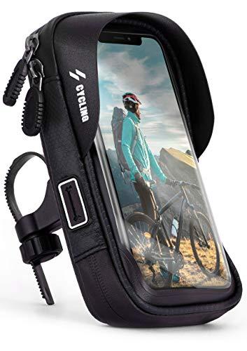 ONEFLOW - Funda impermeable para manillar con ventana para la serie Huawei P, incluye apertura para el cable, visera para el sol y tarjetero, color negro