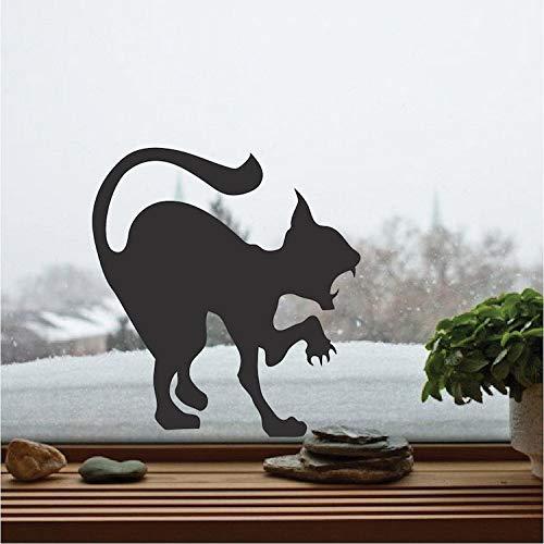 Angreifende Katze Silhouette Wandaufkleber Scary Cat Vinyl Aufkleber Für Zuhause Halloween Urlaub Decor Art Wall Poster Wohnkultur braun 58x58 cm
