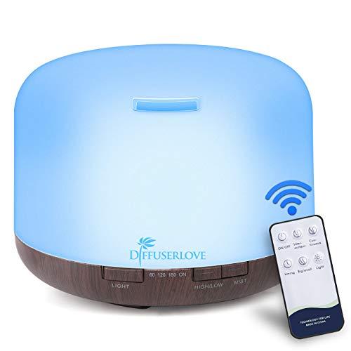 Diffuserlove Diffuser 500ML Ätherische Öle Ferngesteuerte Ultraschall-Aromatherapie Diffusor Kühlen Nebel Luftbefeuchter Timer und Wasserlose Automatische Abschaltung, 7 Farben LED für Spa