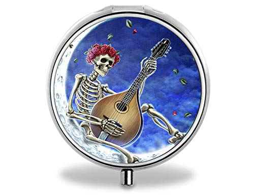Pill Box - Portable Round Metal Silver Pills Pill Case, Compact 3 Space. Personalized Customized Pattern Design Pill Boxes, Pill Cases for Pills/Travel/Pocket/Purse. (Human Bone Playing Guitar)