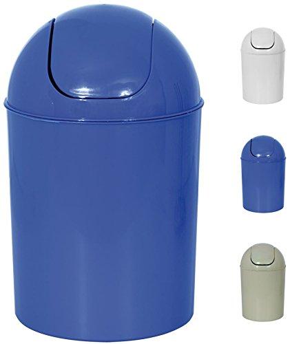 MSV Kosmetikeimer Abfalleimer Schwingdeckeleimer 7 Liter Kunststoff Blau