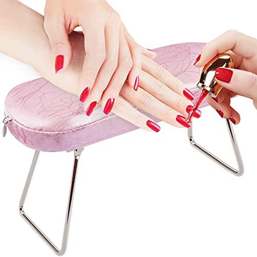 Cuscino per braccioli per unghie, EBANKU Manicure Cuscino per mani per unghie con staffa Cuscino per braccioli in pelle per tavolo per unghie- rosa