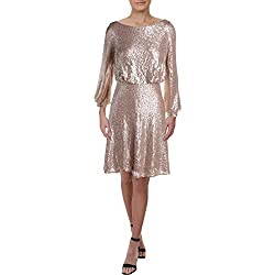 Champagne Sequined Cowl Back Party Dress