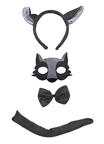 Petitebelle Maske Wolf Stirnband Bowtie Schwanz 4pc Kostüm für Kinder Einheitsgröße Grau