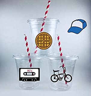 Stranger Themed Party Cups Disposable Birthday Cup Set of 12 Lids/Straws