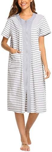 Ekouaer Zipper House Dresses Long Sleepwear Cotton Nightgowns Short Sleeve Housecoat with Pockets product image