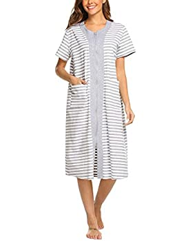 Ekouaer Zip Sleepwear Cotton Nightgowns Short Sleeve Nightdresses Striped Sleepdresses with Pockets for Women  XXL White