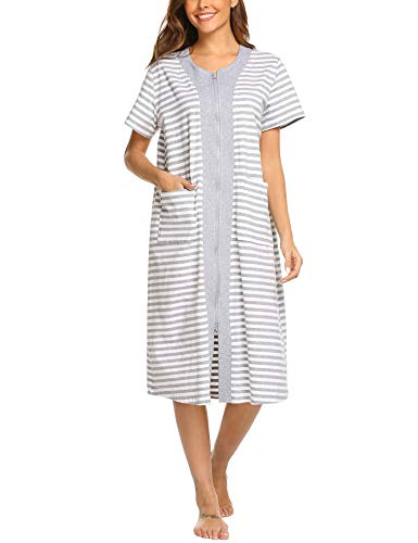 Ekouaer Zipper House Dresses Long Sleepwear Cotton Nightgowns Short Sleeve Housecoat with Pockets for Women (L, White)
