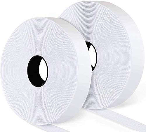16.5Ft x 1 Inch Self Adhesive Hook Loop Strips, Heavy Duty Strong Back Sticky Fastening Tape,Nylon Fabric Fastener Mounting Tape for Sewing, Crafting,DIY- Indoor or Outdoor Use (White)