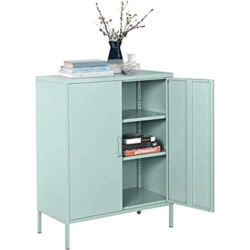 MEUBLE COSY Sideboard Kleiderschrank Wohnzimmer Aufbewahrungsschränke Garderobenschränke Metall Schrank mit Regal Ablage und Tür, Grün, 80x40x101.5cm