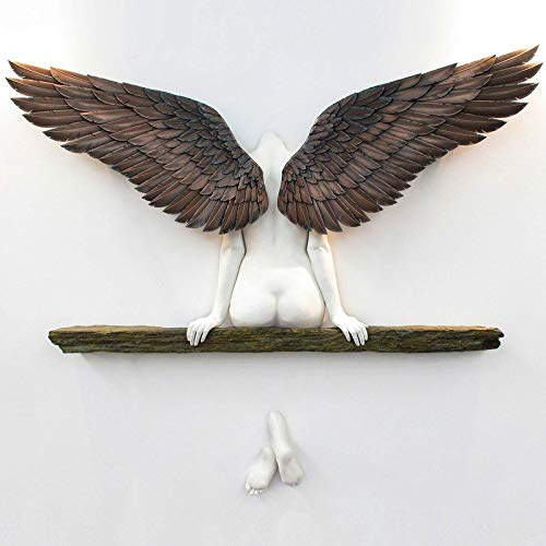 Wall Art, Angel Art Sculpture Wall Decoration, Minimalist Wall Decor Crafts 3D Statue for Living Room Bedroom Decoration