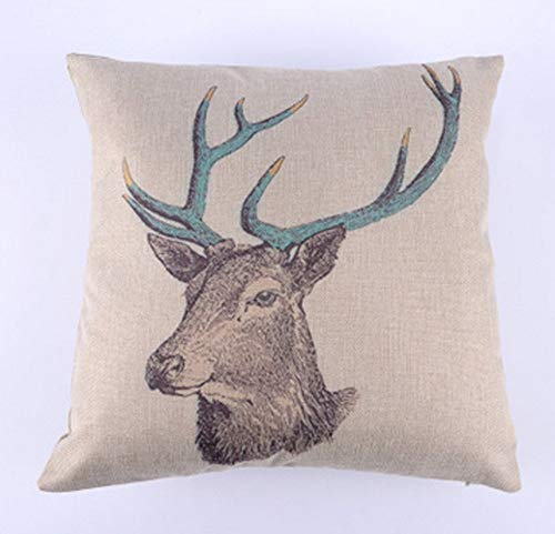 Square Throw Pillow Case Cushion Cover Pillowcase for Sofa Deer Head 18'X 18' (5)