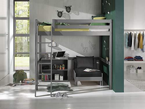 Vipack Cama alta con superficie de descanso de 140 x 200 cm, incluye cama y estantería con dos compartimentos de madera de pino maciza de color gris lacado
