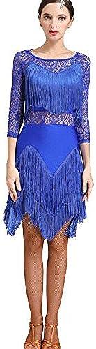 Robe de Danse Latine Manches Longues Splice de Dentelle pour Femme Exécution Gland Costume de Danse Latine, XXL, bleu