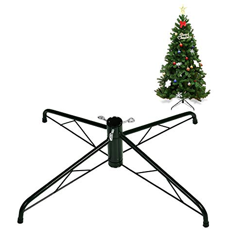 La fete Artificial Tree Replacement Stand, Xmas Tree Metal Holder Base Cast Iron Stand 4 Feets for 7-8ft Christmas Tree, Sturdy Rack Stand Christmas Decoration Accessories