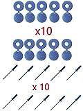 cyclingcolors Lot de 10 Rivets + Cache Rivet Bleu Plaque D'IMMATRICULATION Voiture Auto Moto Scooter MOBYLETTE Protection Plastique Aveugle VIS Boulon Fixation