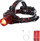 Red Light LED Headlamp Red Hunting Flashlight Super Bright 1000 Lumens 3 Lighting Modes Rechargeable Waterproof Lightweight Headlight for Hunting Stargajing Astronomy Running Fishing