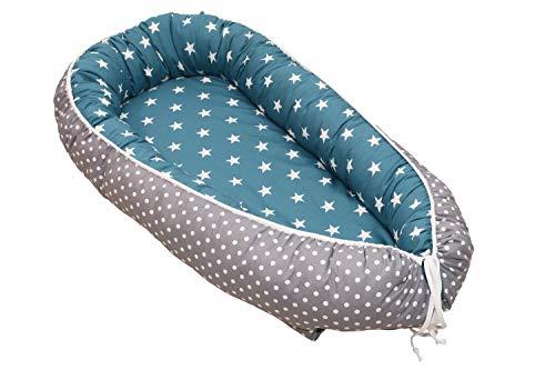 Nido para bebé de ULLENBOOM ® bosque verde azul (nido de 55 x 95 cm de algodón; apto como cuna de viaje y para el colecho; dibujo: estrellas)