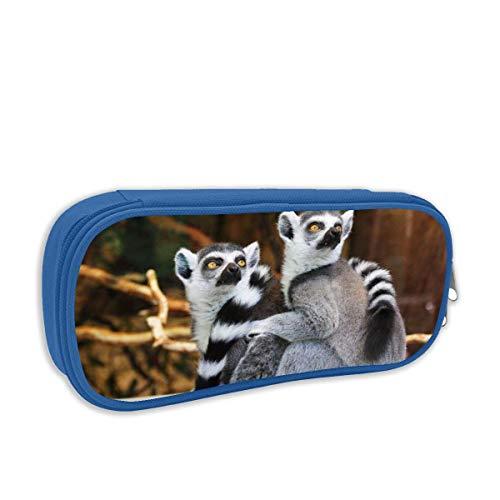 IUBBKI Ring Tailed Lemur School Print Pen Bag with Zipper