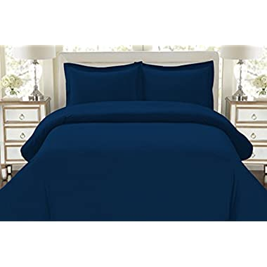 HC COLLECTION Hotel Luxury 3pc Duvet Cover Set-1500 Thread Count Egyptian Quality Ultra Silky Soft Top Quality Premium Bedding Collection -Queen Size Navy Blue
